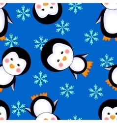 penguins seamless pattern winter vector image