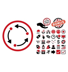 Rotate Flat Icon with Bonus vector image