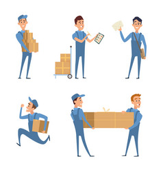 set of cartoon characters at work of delivery vector image vector image