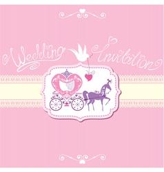Wedding invitation with retro horse carriage vector
