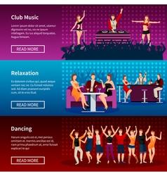 Nightlife dance club flat banners set vector