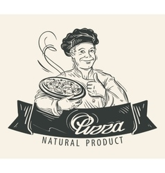 Pizza logo design template Restaurant vector image