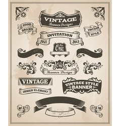 Retro vintage banner and ribbon set vector image vector image