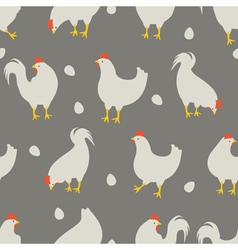 rooster and chicken pattern grey vector image vector image