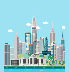smart city skyline vector image vector image