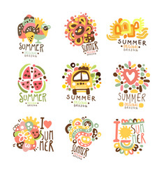 summer holidays set for label design journey vector image vector image