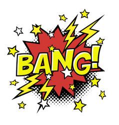 bang comic sound in speech bubble comic text vector image vector image