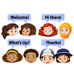 children saying polite words vector image