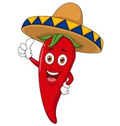 Chili cartoon with sombrero hat vector image vector image