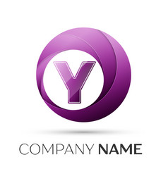 letter y logo symbol in the colorful circle on vector image