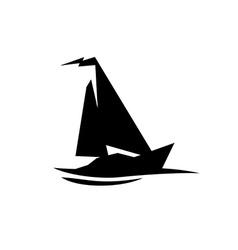 Sailing boat logo Flat symbol with flag at the top vector image