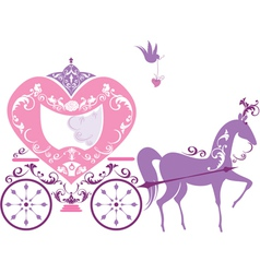 Vintage fairytale horse carriage isolated on white vector image vector image