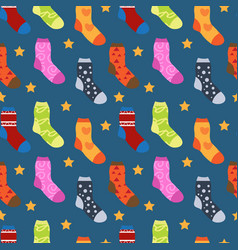 winter socks with different prints seamless vector image vector image