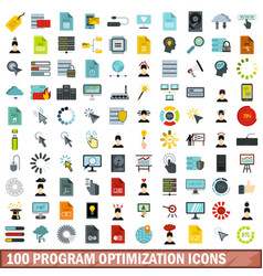 100 program optimization icons set flat style vector image