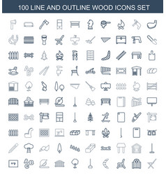100 wood icons vector image