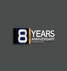8 years anniversary logotype with blue and silver vector
