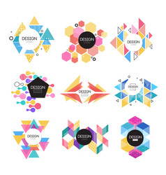 abstract logo design set colorful geometric shape vector image