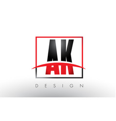 Ak a k logo letters with red and black colors vector