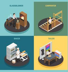 artisan professions 2x2 design concept vector image