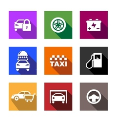 Automobile and service flat icons or web buttons vector image