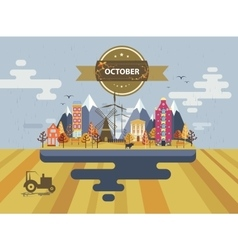 Autumn landscape Small town vector