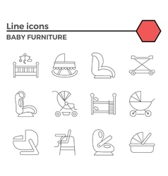 Baby furniture line icons vector