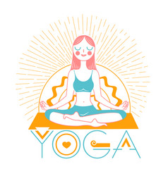 banner icon girl yoga linear style vector image
