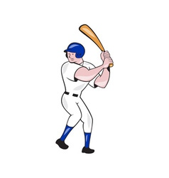 Baseball player batting side blue isolated cartoon vector