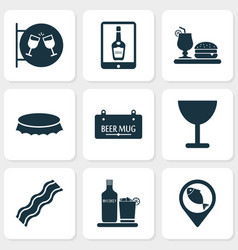 Beverages icons set with bottle cap geolocation vector