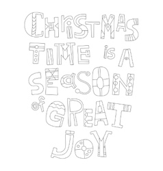 Black and white Christmas greetings for coloring vector image