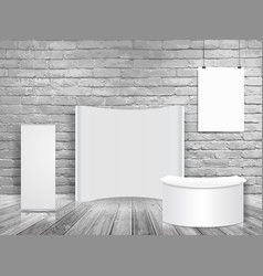 Blank exhibition trade show booth mock up in vector