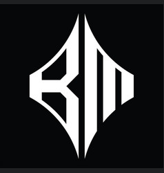 Bm logo monogram with diamond shape design vector
