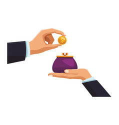 businessman hand depositing coin in purse vector image