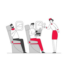 Cabin plane with stewardess and passengers vector