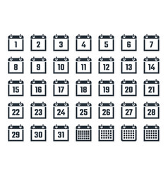 Calendar icons set with dates from 1 to 31 vector