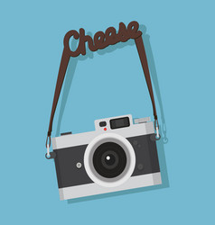 Camera hanging with cheese strap vector
