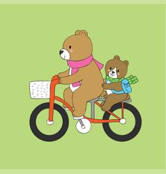 cartoon cute bear and baby riding vector image