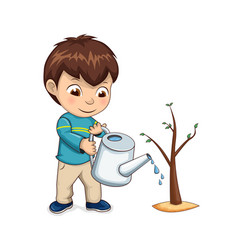Child watering growing tree vector