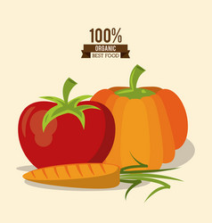 Colorful poster of organic best food with pumpkin vector