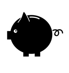 contour nice pig to save coin currency vector image vector image