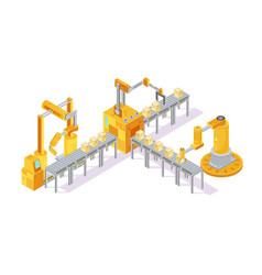 conveyor equipment isometric composition vector image