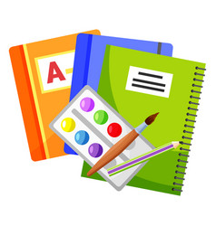 Copybook and textbook paints and brush vector