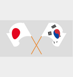 Crossed and waving flags south korea and japan vector