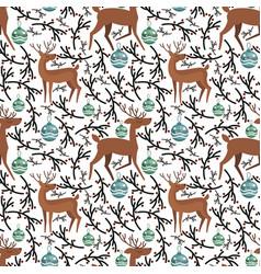 cute flat deer on seamless pattern vector image