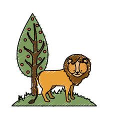 cute lion wild animal next to tree vector image