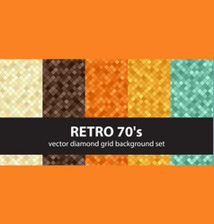 Diamond pattern set retro 70s seamless vector