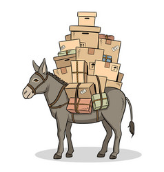 donkey loaded parcels pop art vector image
