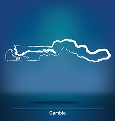 Doodle Map of Gambia vector