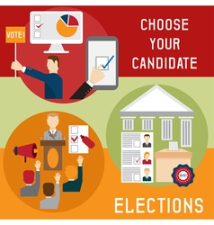 Election voting and debate mini banners set flat vector image