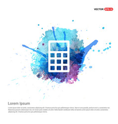 Electronic calculator icon - watercolor background vector